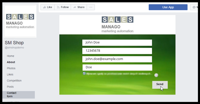 Adding contact forms to Facebook | Support SALESmanago