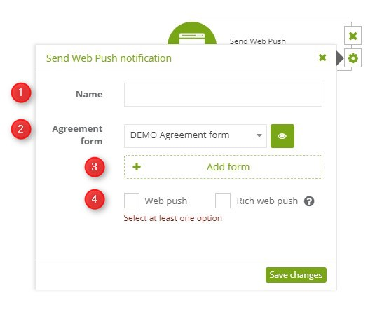 Workflow | Action: Send Web Push notification | Support